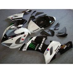 Kawasaki NINJA ZX6R 2005-2006 Injection ABS Fairing - Monster - Black/White | $639.00