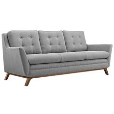 Beguile Upholstered Fabric Sofa Exquisitely crafted with gently sloping arms, comfortable plush seat cushions, and adeptly tufted back cushion buttons, Beguile is a delightful collection that reinvents mid-century style. Mid Century Couch, Mid Century Modern Sofa, Fabric Armchairs, Fabric Sofa, Grey Fabric, Contemporary Fabric, Contemporary Furniture, Modern Contemporary, Gray Sofa