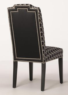 This parallel row of nailhead trim is the perfect compliment to the solid black contrasting fabric on the back of the Vegas Dining Chair. Metal Dining Chairs, Living Room Chairs, Dining Room, Reupholster Furniture, Contemporary Chairs, Parsons Chairs, Wing Chair, Nailhead Trim, Upholstery