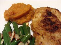 Gluten-free Breaded pork steak, spicy mash sweet w/ garlic & almond green beans