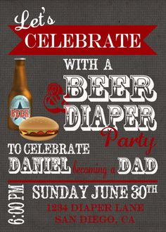 Daddy Diaper Baby Shower Invitation 4x6 or 5x7 by DigitalParty