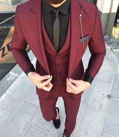 Custom Made Groom Wedding Tuxedos Groomsmen Burgundy Slim Suits Fit Best Man Suit Men's Suits Bridegroom Groom Wear (Jacket+Vest+Pants) 14 suits men Men's Suits, Dress Suits, Cool Suits, Men Dress, Cool Prom Suits, Dress Clothes For Men, Fitted Suits, Casual Clothes, Maroon Suit