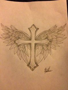 Cross With WIngs Tattoo Design by ProTxtics.deviantart.com on @DeviantArt