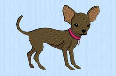 Chihuahua dog  2 sizes  machine embroidery design file by lynellen, $3.00