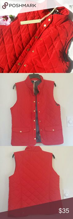Red Kenar Vest Beautiful red, warm vest with gold zipper ad buttons. Two  pockets on the front.  Bit of detail on the back with the two gold buttons. NWT. Kenar Jackets & Coats Vests