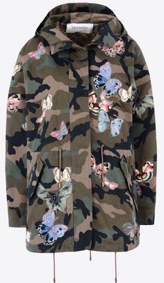 Valentino Military Green Camouflage Parka + Embroidered Butterflies