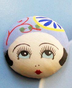 Vintage Art Deco Flapper Girl, Garter Button