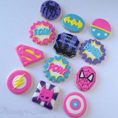 Batman Cookies, Superhero Cookies, Girl Superhero Party, Superhero Birthday Cake, Batman Party, Combined Birthday Parties, 6th Birthday Parties, Birthday Bash, Girl Birthday