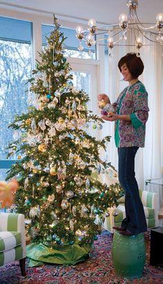 Sapin de Noël vert et turquoise
