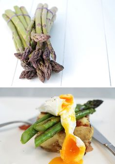 Crushed new potato grilled asparagus & poached egg