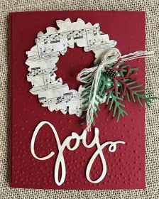 Make It Monday – Joy Wreath Christmas Card – Christmas DIY Holiday Cards Homemade Christmas Cards, Stampin Up Christmas, Christmas Cards To Make, Xmas Cards, Homemade Cards, Holiday Cards, Christmas Wreaths, Christmas Crafts, Christmas Decorations