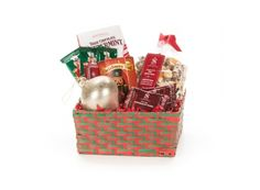 Christmas Snacks Gift Basket | Whish.ca Christmas Snacks, Gift Baskets, Gifts, Decor, Sympathy Gift Baskets, Christmas Appetizers, Favors, Decorating, Presents