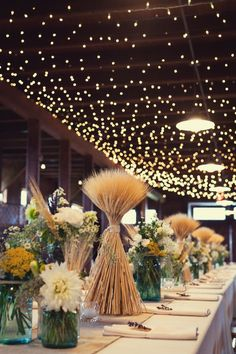 Wheat-and-Wildflower-Centerpiece..some taller ones for cake table and gift tables?  (Ooolala! Add: Custom Monogram and Dated Chocolates! ONLY $7! www.customweddingprintables.com)