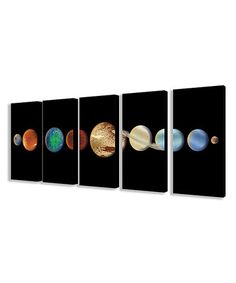 Look what I found on #zulily! Five-Piece Planet In The Dark Solar System Wrapped Canvas Set #zulilyfinds