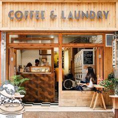 Coin Laundromat, Laundromat Business, Laundry Business, Laundry Shop, Coin Laundry, Cafe Interior Design, Cafe Design, Self Service Laundry, Mini Cafe