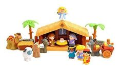 The Little People Nativity Set is appropriate for preschoolers, comes with 12 figures and a manger. Includes new Mary, Joseph, Baby Jesus, Angel and Three Wise men Also includes Existing - Camel, baby Donkey, adult Donkey, Lamb, Calf and Angel.