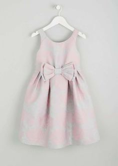 Girls pink and green floral jacquard sleeveless dress with bow detail on the front waist. Beautiful pearl button fastening down the back of the dress and has. Occasion Wear, Occasion Dresses, Day Dresses, Flower Girl Dresses, Summer Dresses, Wedding Dresses, Matalan, Dress With Bow, Playsuits