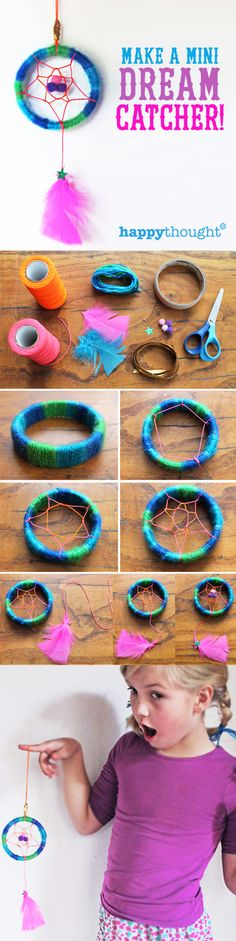 Super-cute Mini dreamcatcher tutorial with free printable worksheets. happythought.co.uk/craft/mini-dreamcatcher-craft-ideas