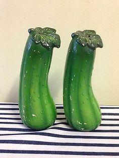 Vintage Retro Pickle Salt AND Pepper Shakers | eBay