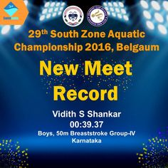 Record Breaking Performances as the Day 2 of the 29th South Zone Aquatic Championship 2016 Opens in Belgaum!