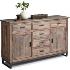 Porto Sideboard in Distressed Walnut w/ Black Powder Coated Steel Base @ DynamicHomeDecor. Matching Dining Table available: http://www.dynamichomedecor.com/Sunpan-94260.html