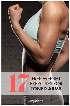 The 17 Free weight exercises you can do at home, or at the gym! Get beautiful toned arms for summer with these simple moves. Popculture.com #armworkout #workout #athomeworkout #skinnyarms #fitness #athomeworkout #workoutforwomen
