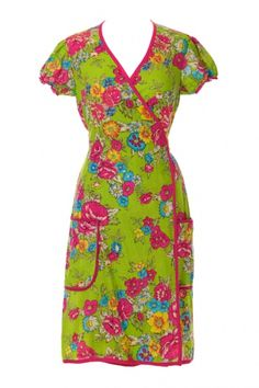 Emilie Dress Lime Stunning 1940s multicoloured floral print wrap dress Tie Fastening Elasticated lace sleeves Lace edged pockets Length 100cm Black