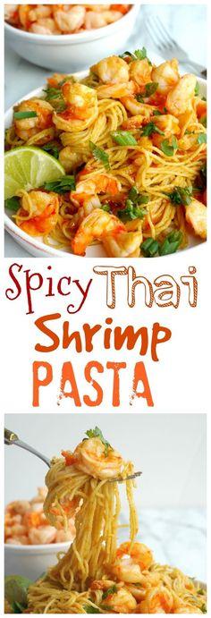Spicy Thai Shrimp Pasta from http://NoblePig.com