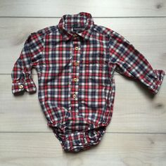 Osh Kosh Red White & Blue Plaid Onesie Button Down Shirt. Size 18 months. Long sleeve cotton. Snaps at diaper area. Excellent Used Condition