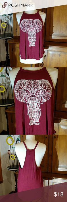Host Pick French Pastry Elephant Tank Wonderful Burgandy tank with an amazing elephant graphic print. Perfect for layering or yoga class. Super soft and comfortable for table!!  95% Rayon 5% Spandex  Made LA USA French Pastry  Tops