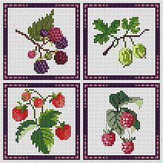 Kitchen, fruit, blackberry, gooseberry, strawberry, raspberry, free cross stitch patterns and charts - www.free-cross-stitch.rucniprace.cz