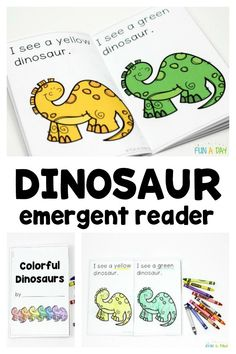 Printable dinosaur emergent reader for preschoolers Make a dinosaur emergent reader with the kids to teach color names and color words. Grab your free printable dinosaur book here to get started. Dinosaur Theme Preschool, Dinosaur Printables, Dinosaur Activities, Preschool Literacy, Free Preschool, Preschool Printables, Kindergarten Activities, Daycare Curriculum, Vocabulary Activities