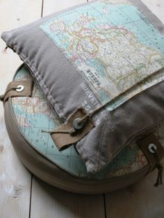 industrial looking map pillows Textiles, Map Globe, We Are The World, Pillow Talk, Cartography, Kidsroom, Pillow Covers, Decoration, Inspiration