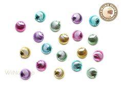 8mm Metallic Round Seashell Mixed Color Cabochone Rhinestone - 10 pcs