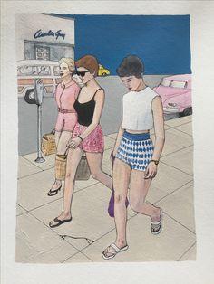 Walking in the Sidewalk Aquarell/Acryl/Marker Format:A3