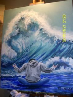 Prayer of receiving mighty rushing waters of blessing, live painting during worship at Garden of Grace. Christian Paintings, Christian Art, Spiritual Paintings, Prophetic Art, Jesus Art, Bible Art, Watercolor Art, Art Drawings, Illustration Art