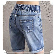 189948e489 Ventas calientes de Las Mujeres del Lazo de La Cintura Elástico Jeans  Shorts Más El Tamaño