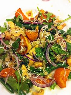 Quinoa, green beans, sweet potato oven roasted in coconut oil, mint, coriander, onion, shredded coconut, cashew nuts, sesame seeds, 