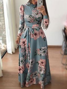 Mommy & Baby Chic Dress, Matching Fashion, Shop Light-green Floral Print Long Sleeve Tied Zip-back Casual Maxi Dress online. Dress Outfits, Casual Dresses, Maxi Dresses, Maxi Robes, Long Dresses, Cheap Dresses, Elegant Maxi Dress, Frack, Floral Print Maxi Dress