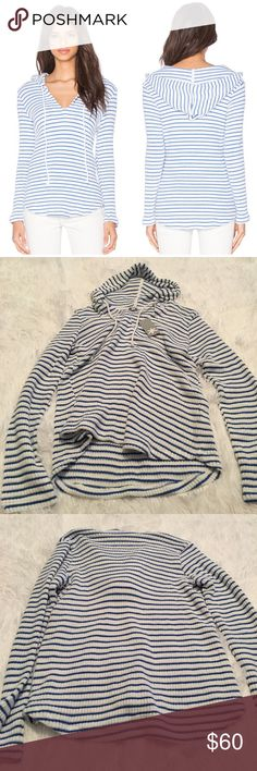 Splendid Blue & White Striped Nautical Hoodie So cute and perfect paired with white denim or boyfriend jeans! Brand new with tags! Super soft and cozy with stretch. No trades!! 01817150tmr Splendid Sweaters Cardigans