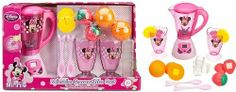 """Disney Store Minnie Mouse Kitchen Accessories: Minnie Smoothie Play Set by Disney Store. $34.10. Set includes 2 play parfait cups featuring Minnie Mouse art, 2 spoons with Minnie bows, 4 pretend ice cubes, 4 play strawberry halves, 4 play orange halves, and 2 play lemon slices. Requires 3 x AA batteries (included). Features 8 1/2"""" battery operated play blender with Minnie Mouse screen art that really spins when the timer is set. Authentic Disney Store design wi..."""