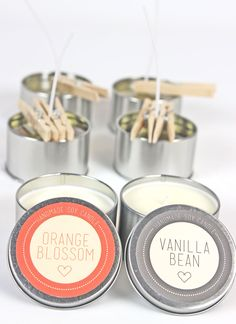 DIY soy candles with Orange Blossom and Vanilla Bean with FREE printable labels!