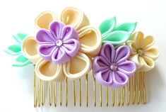 Peine del pelo de la tela Flor Kanzashi. Marfil Orquídea por JuLVa
