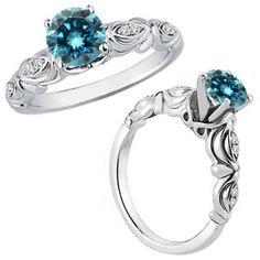 0.25 Carat Blue Diamond Fancy Solitaire Engagement Bridal Ring 14K White Gold #Jascina #Solitaire