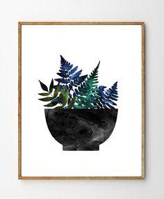 Bol de fougères - fougères Art, Art botanique, Art Floral, fête des mères, fougère imprimer, Art cuisine, Art de la Nature