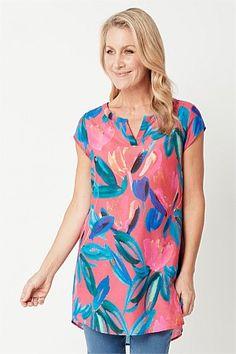 Shop Women's Tops Online   Blue Illusion Tunics Online, Tops Online, Frill Shirt, Boat Neck Tops, Travel Wardrobe, Blouse Styles, Printed Blouse, Illusion, Women's Tops