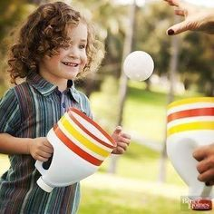 37 Fun and Creative Outdoor Games for the Most Epic Backyard Party, Don't throw away those empty bleach bottles -- transform them into an outdoor catching game! Cut the end off a cleaned bleach bottle and remove the. Outdoor Games For Kids, Outdoor Fun, Outdoor Party Games, Outside Party Games, Outside Games For Kids, Outdoor Crafts, Outdoor Ideas, Toddler Activities, Activities For Kids
