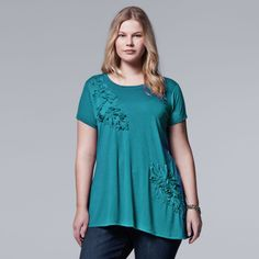 Plus Size Simply Vera Vera Wang Floral Scoopneck Tee/