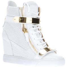 White leather wedge hi-top sneakers from Giuseppe Zanotti Design featuring a textured finish, a round toe with a gold-tone strap on the front, a lace-up front …