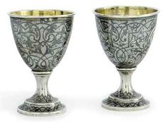 "A PAIR OF RUSSIAN SILVER AND NIELLO EGG CUPS MARK OF Sh.M (CYRILLIC) AND ""84"" STANDARD MARK ONLY, 2ND HALF OF 19TH CENTURY"
